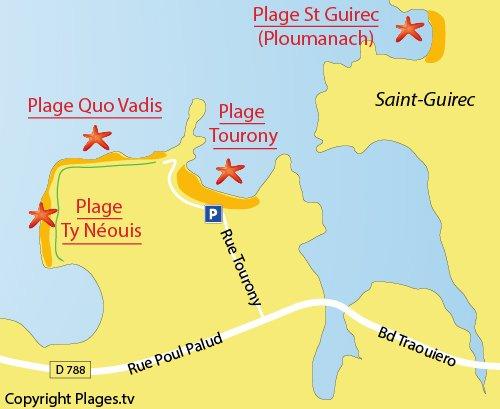 Map of Ty Néouis Beach in Trégastel