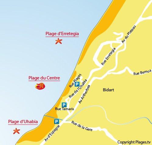 Carte de la plage d'Uhabia à Bidart