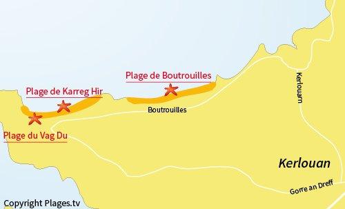 Carte de la plage du Vag Du à Kerlouan