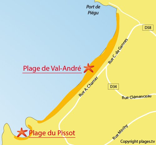 Map of Val André Beach in Pléneuf Val André
