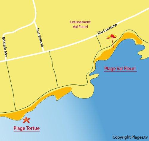 Plan de la plage du Val Fleuri à St Raphaël