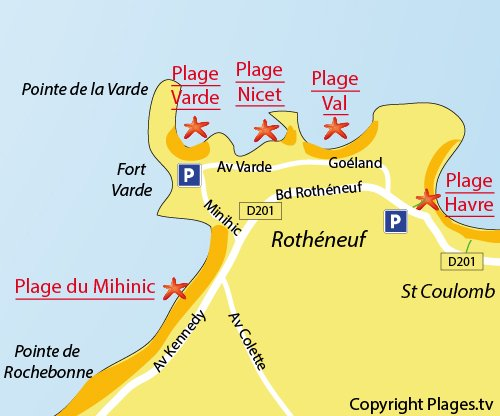 Carte de la plage du Val à St Malo