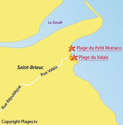 Carte de la plage du Valais de Saint-Brieuc
