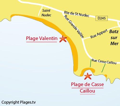 Plan de la plage de Valentin à Batz sur Mer
