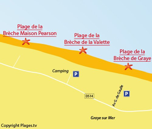 Map of Brèche de la Valette Beach in Graye sur Mer