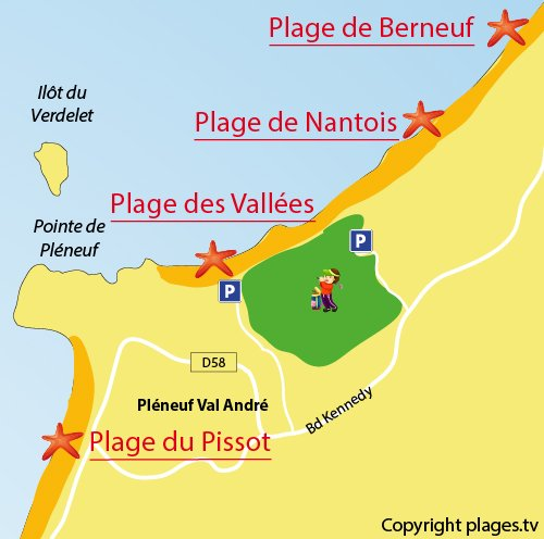 Map of Vallees Beach in Pléneuf Val André