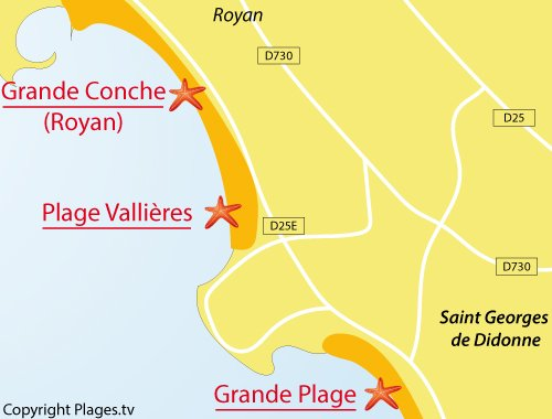 Map of Vallieres Beach in St Georges de Didonne