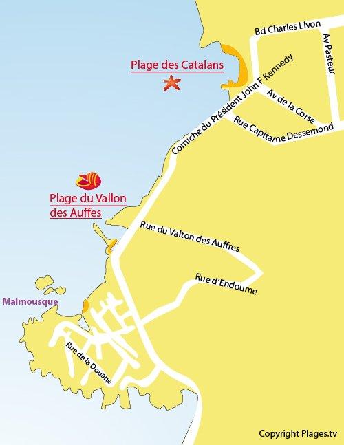 Map of Vallon des Auffes Beach in Marseille