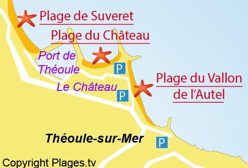 Carte de la plage du Vallon de l'Autel à Théoule sur Mer