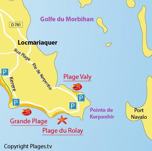 Carte de la plage de Valy à Locmariaquer