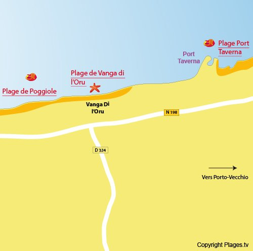 Map of Vanga di l'Oru Beach in Corsica