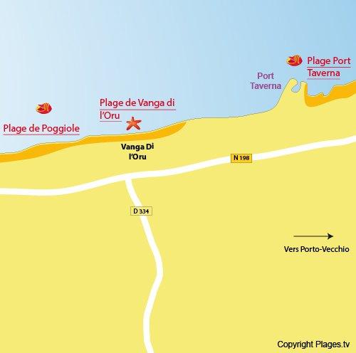 Mappa della Spiaggia Vanga di l'Oru in Corsica