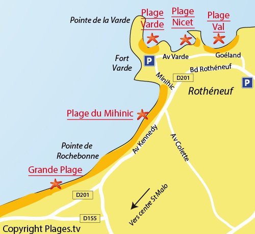 Map of the Varde Beach in St Malo in France