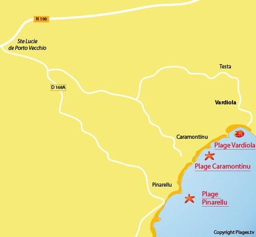 Carte de la plage de Vardiola en Corse