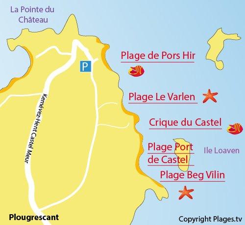 Plan de la plage du Varlen à Plougrescant