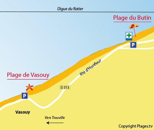 Map of the Vasouy Beach in Honfleur