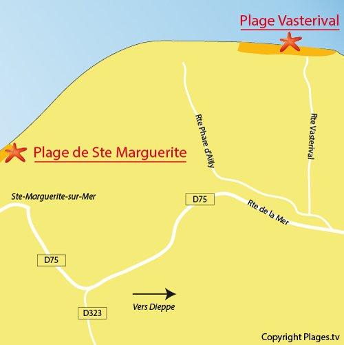 Carte de la plage de Vasterival de Ste Marguerite sur Mer