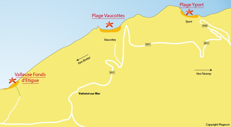 Plan des plages autour de Vattetot sur Mer