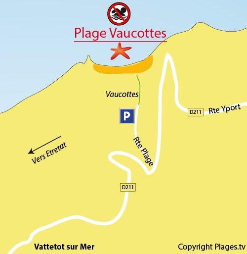 Plan de la plage de Vaucottes à Vattetot sur Mer