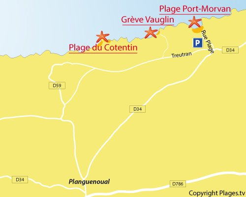 Carte de la plage de Vauglin à Planguenoual en Bretagne