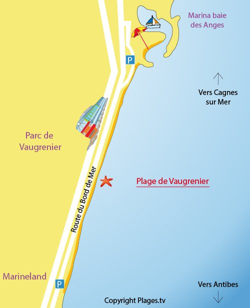 Map of Vaugrenier Beach in Villeneuve-Loubet