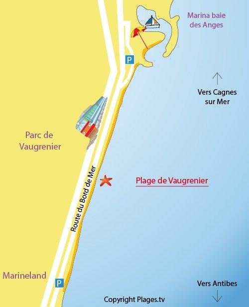 Map of Vaugrenier Beach in Villeneuve-Loubet