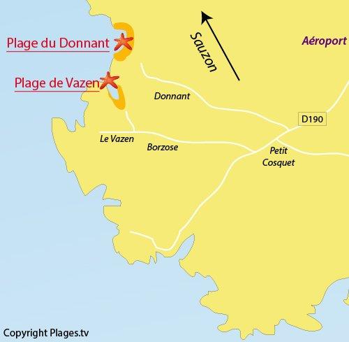 Carte de la plage de Vazen à Belle Ile en Mer