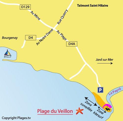 Carte de la plage du Veillon à Talmont