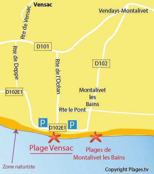 Carte de la plage de Vensac en Gironde
