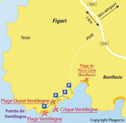 Carte de la plage de Ventilegne à Figari