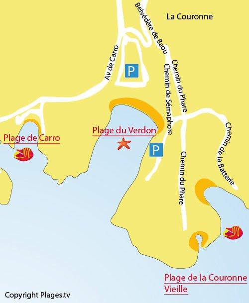 Plan de la plage du Verdon à La Couronne Martigues