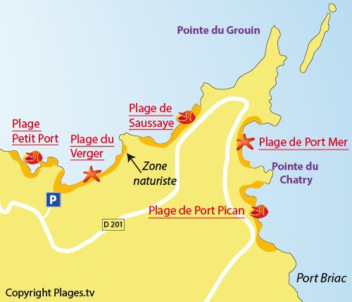 Plan de la plage du Verger à Cancale