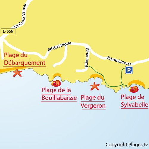 Map of the Vergeron Beach in La Croix Valmer