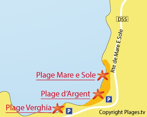 Map of Verghia Beach in Coti Chiavari