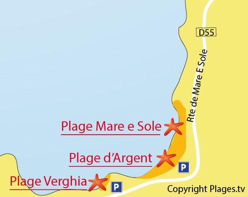 Carte de la plage de Verghia à Coti Chiavari