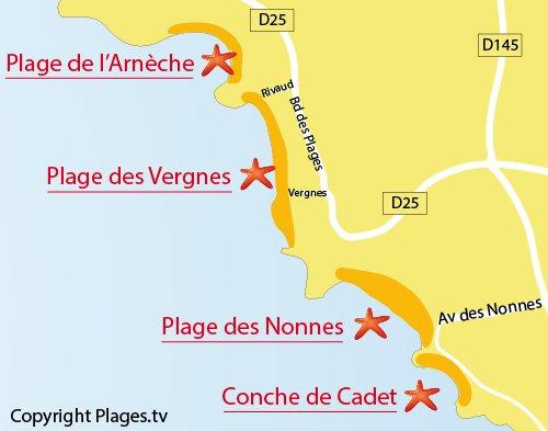 Carte de la plage des Vergnes de Meschers sur Gironde