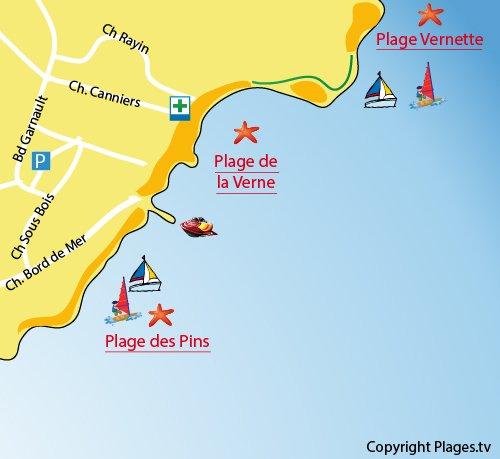 Carte de la plage de la Verne à La Seyne sur Mer