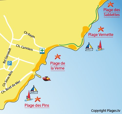 Map of Vernette Beach in La Seyne sur Mer