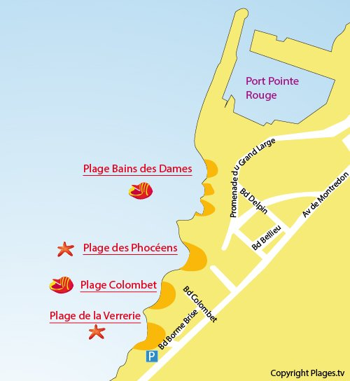 Map of Verrerie Beach in Marseille