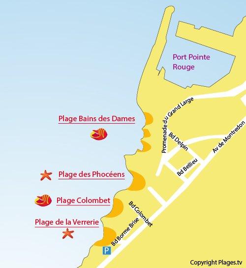 Plan de la plage de la Verrerie à Marseille