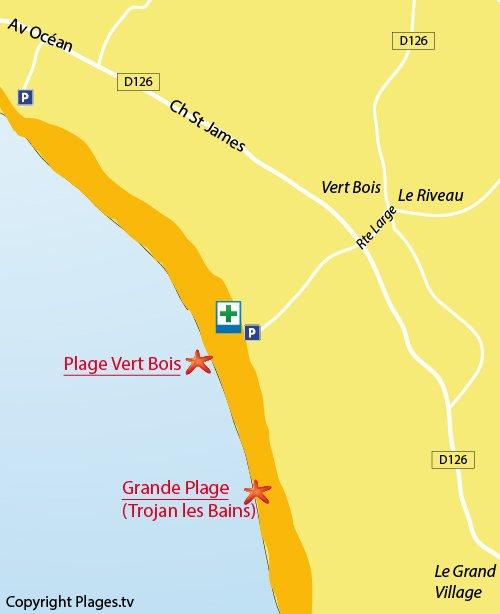 Map of Vert Bois Beach in Oléron