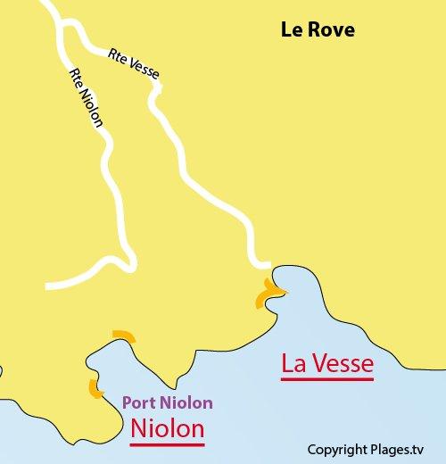 Map of Port de La Vesse Beach in Le Rove - France