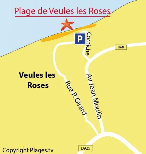 Carte de la plage de Veules les Roses en Normandie