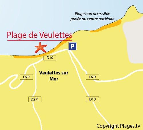Carte de la plage de Veulettes sur Mer