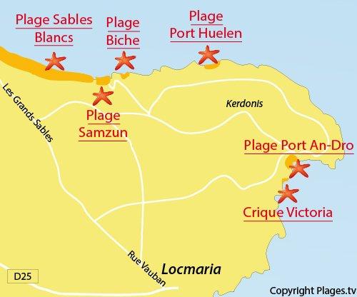 Carte de la plage Victoria à Belle Ile