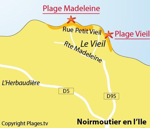 Plan de la plage du Vieil à Noirmoutier