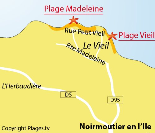 Map of Vieil Beach in Noirmoutier