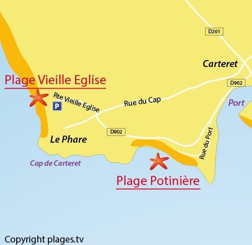 Carte de la plage de la Vieille Eglise de Barneville Carteret
