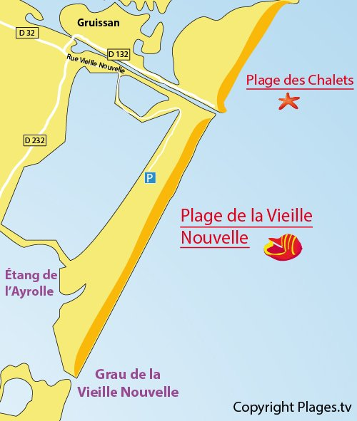 Map of Vieille Nouvelle Beach in Gruissan