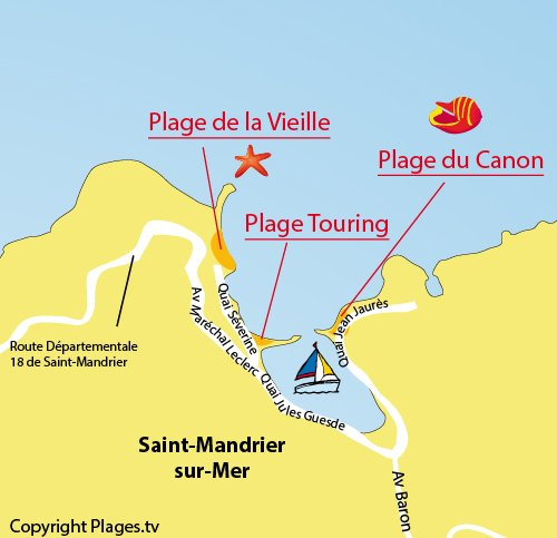Map of Vieille Beach in Saint Mandrier